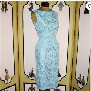 Dresses & Skirts - ✨ 1950's Vintage Blue & White Lace Wiggle Dress S